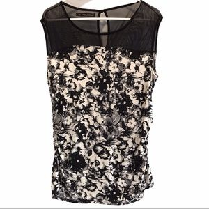 Maurices women's black & white floral print top 1x